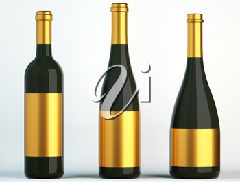 Three black bottles for wine with golden labels on white