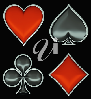 Card suits with gray framing isolated over black. Poker and casino