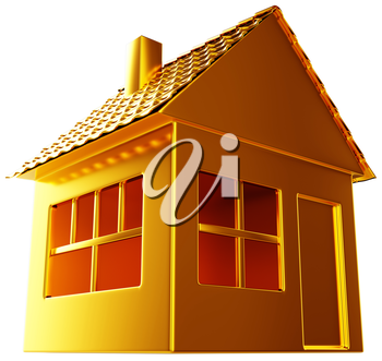 Costly realty: golden house shape isolated on white