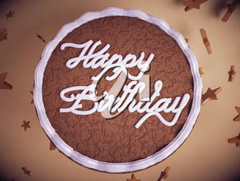 Greetings: cake with colorful background and stars. Large resolution
