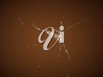 Hot chocolate flow or splashes over brown background