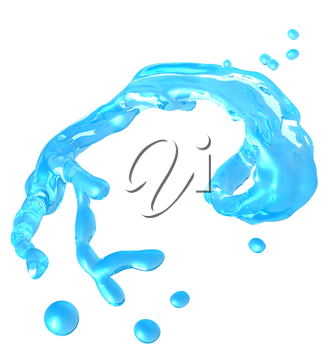 Purity: Splash of water with droplets isolated over white