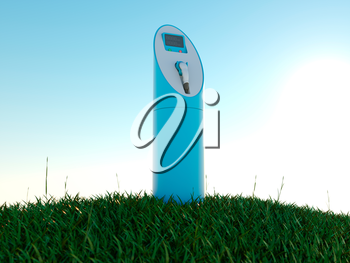 Charging station and green field at dawn. Ecology and environment