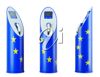 Eco fuel: isolated charging stations with EU flag pattern for electric cars