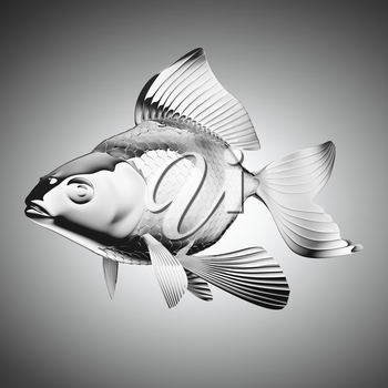 chromium-plated goldfish over grey gradient backgorund