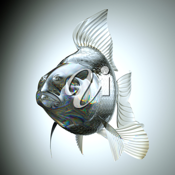 Front view of Glass goldfish over gradient background