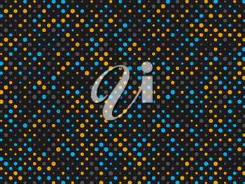 Polka dot background with yellow grey and blue circles. On black