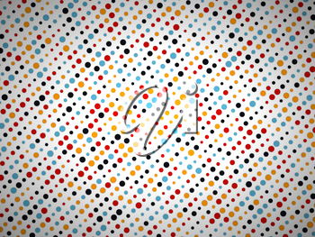 Polka dot pattern with black yellow blue and red circles. Large size