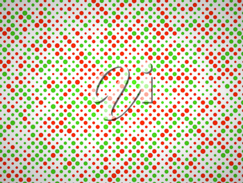 Polka dot pattern with green and red circles. Large size