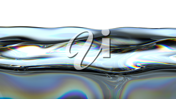 Liquid fuel or petrol with colorful oily pattern isolated over white