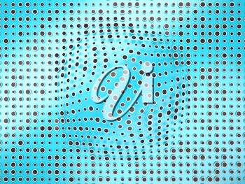 Polka dots pattern with black circles and bump on blue. Creative background