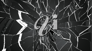 Shattered and cracked glass on white. Large resolution