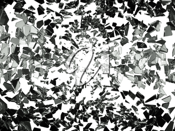 Pieces of splitted or shatteres glass on white. Large resolution