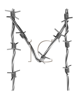 Royalty Free Clipart Image of a Barbed Wire Letter M