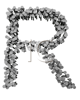 Royalty Free Clipart Image of an R From Hammered Nails