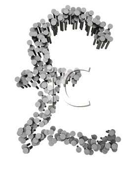 Royalty Free Clipart Image of a Pound Sign Made From Hammered Nails