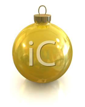 Royalty Free Clipart Image of a Yellow Tree Ornament