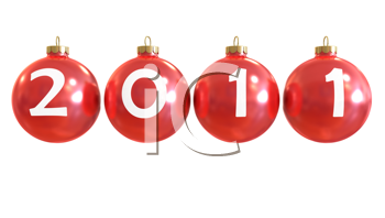 Royalty Free Clipart Image of a Christmas Ornaments For 2011