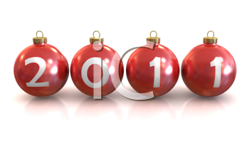 Royalty Free Clipart Image of 2011 Christmas Balls