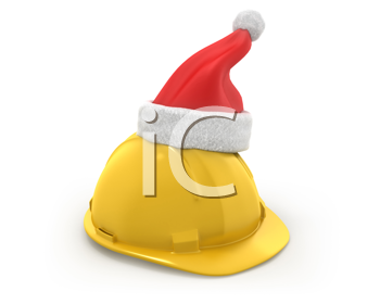 Royalty Free Clipart Image of a Hardhat With a Santa Hat