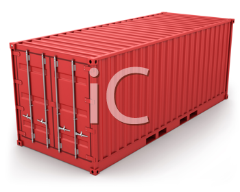 Royalty Free Clipart Image of a Red Freight Container