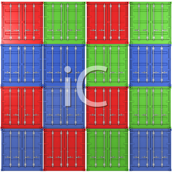 Royalty Free Clipart Image of Multiple Coloured Freight Containers