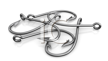 Royalty Free Clipart Image of Fishing Hooks