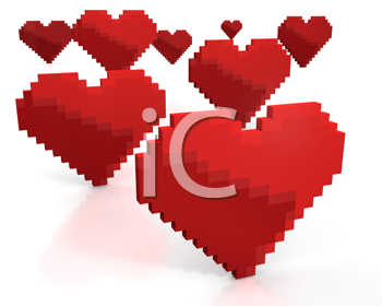 Royalty Free Clipart Image of Pixel Hearts
