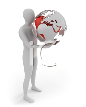 Royalty Free Clipart Image of a Man Holding an Abstract Globe