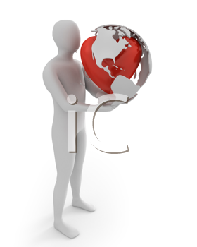 Royalty Free Clipart Image of a Man With a Globe