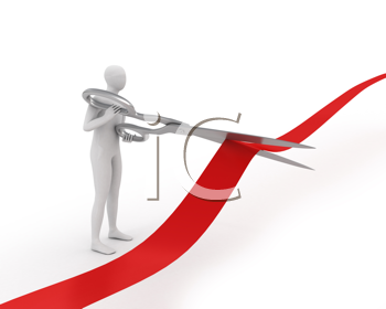 Royalty Free Clipart Image of a Man With Scissors Cutting Ribbon