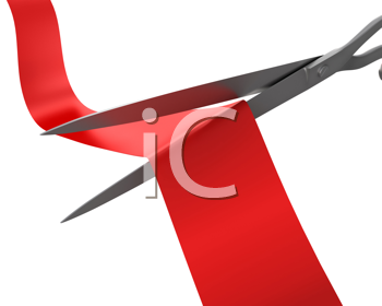 Royalty Free Clipart Image of Scissors Cutting Ribbon