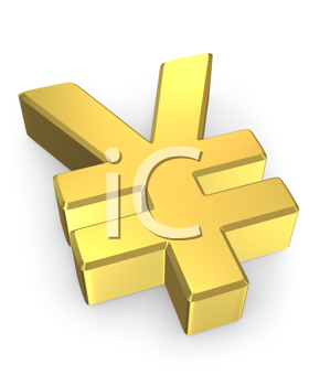 Royalty Free Clipart Image of a Golden Yen Sign