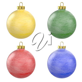 Four christmas balls with frost texture isolated on white background