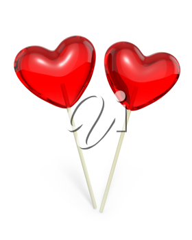 Two heart shaped lollipops, isolated on white background