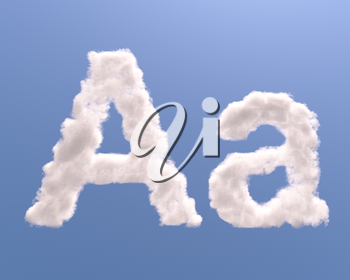 Letter A cloud shape, isolated on white background