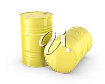Two yellow barrels, isolated on white background
