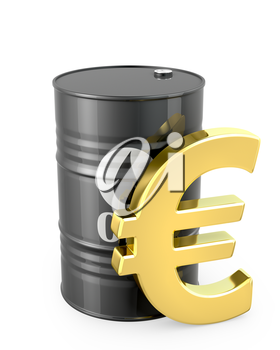 Barrel of oil and euro sign isolated on white background