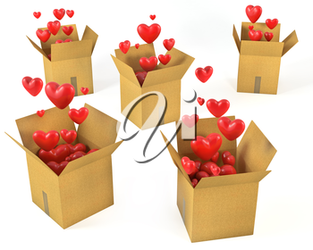 A lot of carton boxes with red hearts flying out of them, isolated on white background