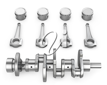 Crankshaft, pistons and connecting rods, isolated on white background