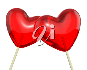 Two heart shaped lollipops, closeup, isolated on white background