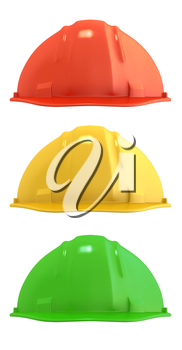 Three construction helmets colored as traffic light, isolated on white background