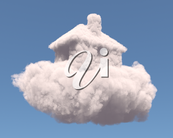 House shape clouds, isolated on white background