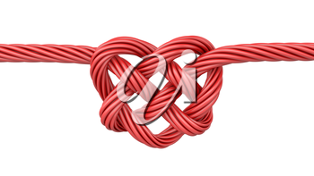 Red heart shaped knot, isolated on white background
