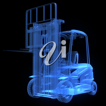 Fork lift truck, front view,  x-ray version