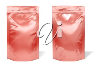 Red foil bag package isolated on white background