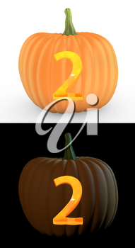 Number 2 carved on pumpkin jack lantern isolated on and white background