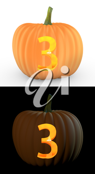 Number 3 carved on pumpkin jack lantern isolated on and white background