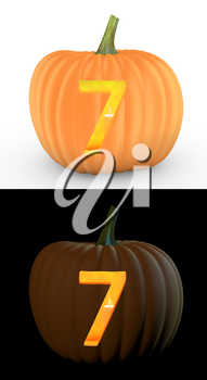 Number 7 carved on pumpkin jack lantern isolated on and white background