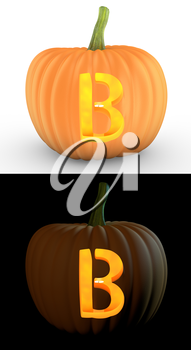 B letter carved on pumpkin jack lantern isolated on and white background